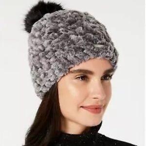Calvin Klein woman Knit & Faux-Fur Pom Beanie